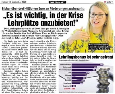 Bereits über drei Millionen Euro Lehrlingsbonus ausbezahlt